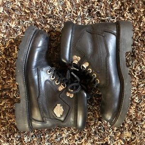 Harley Davidson Biker Black Leather Boots Size 7